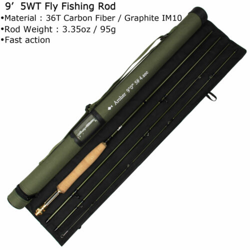 """36T Carbon Fiber Fast Action Fly Fishing Rod 7/'6/""""//8/'//9/' Fly Rod 3 4 5 8WT IM10"""