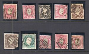 PORTUGAL-FIRST-ISSUES-IN-MOUNTS-COLLECTION-LOT-10-STAMPS