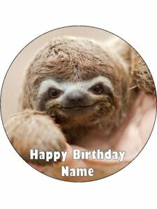 Details about SLOTH 19cm Edible Cake Topper Icing Image Birthday Party Decoration #1