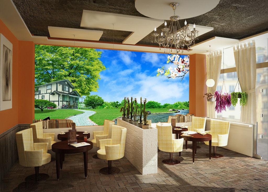 3D Schöne Villen Landschaft 74 Tapete Wandgemälde Tapete Tapeten Bild Familie DE  | Schönes Aussehen  | Sehr gute Qualität  | König der Quantität