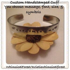 Details about Custom Hand Stamped Cuff You Pick Font Message & Symbols NEW  STAMPS JUST ADDED!