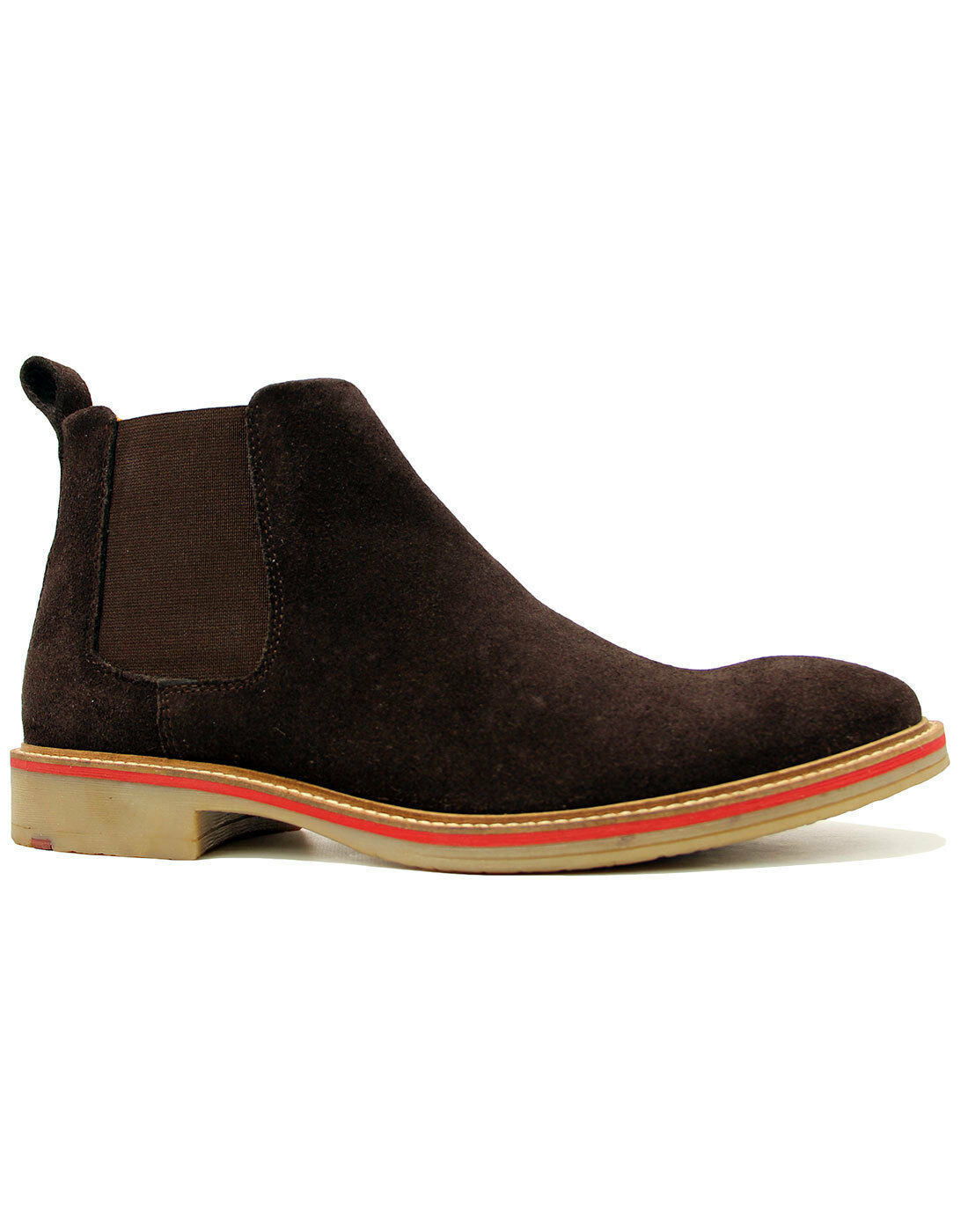 NEW MOD RETRO 60s MENS SUEDE CHELSEA BOOTS with tipped sole DARK BROWN M611DBS
