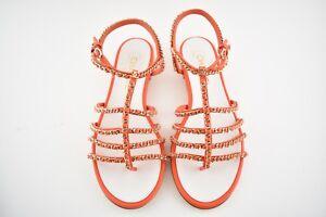 65669d3123a0ca NIB Chanel 18P Orange Gold Chain CC Gladiator Strap Mule Slide Flat ...