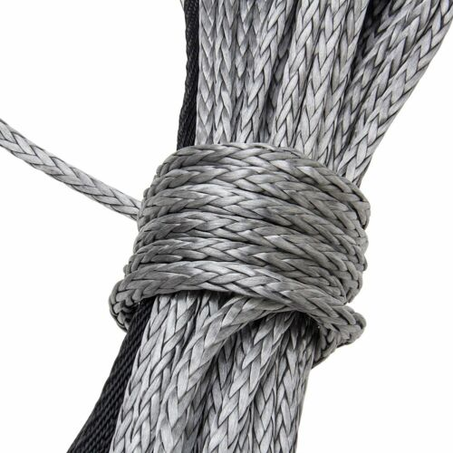 """New 1//4/""""X 50/' Synthetic Winch Rope Line Recovery Cable 10000LBS ATV 4WD W//Sheath"""