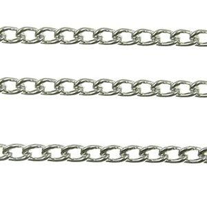 1 Metre of Silver Plated Metal Necklace Curb Chain; Size 4.5mm