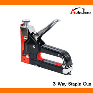 3in1 Heavy Duty Staple Nail Gun Upholstery Stapler Tacker Decoration
