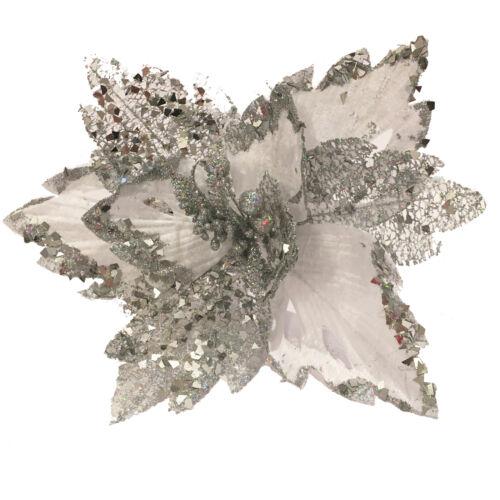 Noël Glitter Poinsettia Décoration 30 cm avec clip-ARGENT
