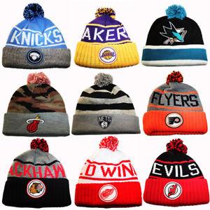 59955723d2f Mitchell   Ness NBA   NHL Cuffed Knit Pom Beanie Winter Hat Team ...