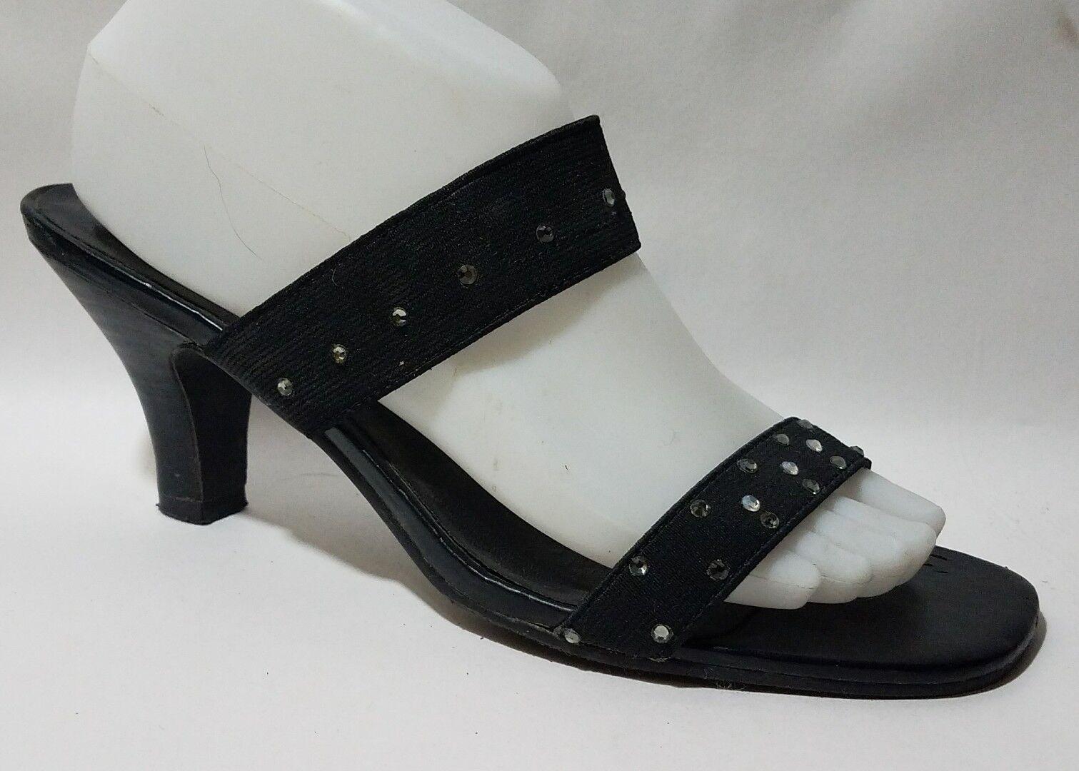 Chadwicks Black Rhinestone Sandal Low Chunky Pump Heel shoes Womens 8.5 M Slides
