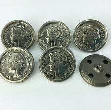 Silver colour Roman Style Coin Sold per Button 23mm Shank On Back Plastic