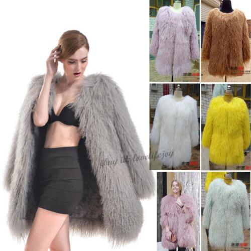 Fur Womens Parka Coat Jacket Sz Long Lamb Real Hair Outwear Mongolian wqRXC