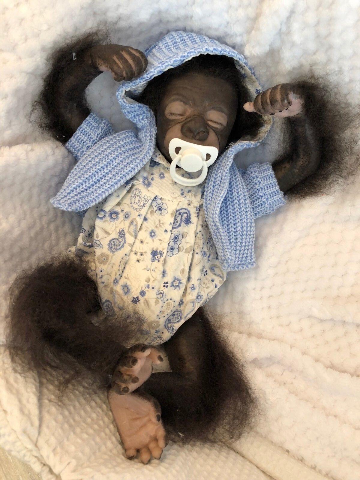 Cherish bambole UK RINATO Baby Pearl Ragazza Ragazzo Gorilla Scimmia realistici radicato Capelli