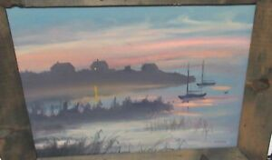 R-J-NEARY-SEAPORT-AT-SUNSET-SCENE-ORIGINAL-OIL-ON-BOARD-PAINTING