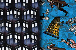 Doctor-Who-Designer-Fabric-Tardis-Daleks-amp-Cybermen-100-Cotton