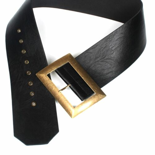 Black Wide Width Belt Retro Vintage Leather Hip Waist Band Buckle Women Fashion
