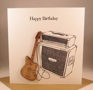 Image Is Loading Wooden ELECTRIC GUITAR Birthday Card Husband Son FENDER