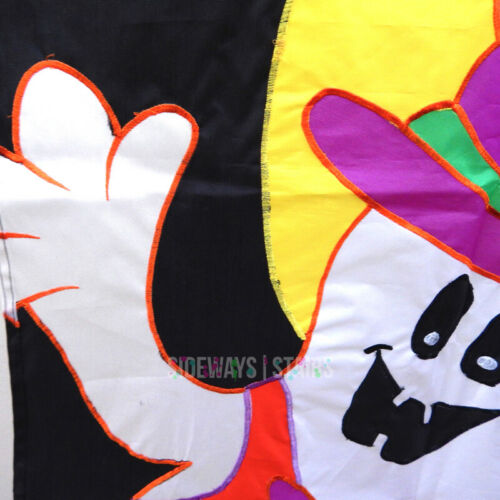 Details about  /VINTAGE FANCY GHOST HALLOWEEN FLAG nylon wall banner yard decor bats 90s rare