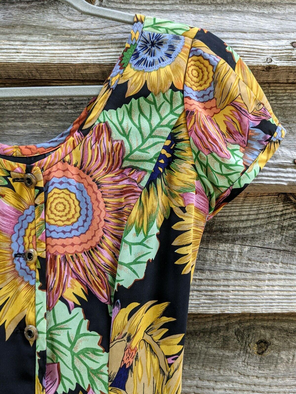 Vtg 90's Midi Dress Sunflowers RARE! Sundress Flo… - image 6