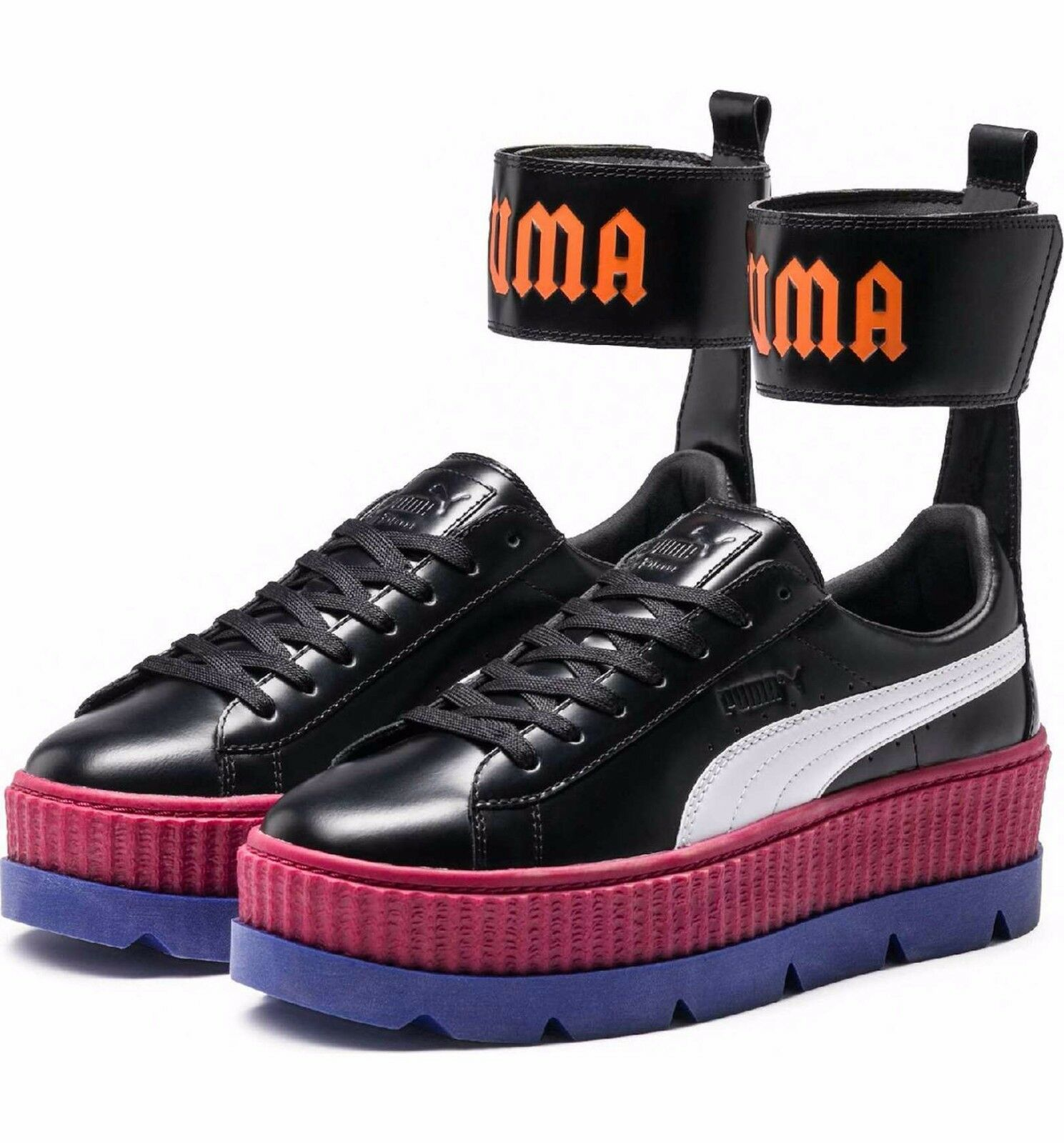 official photos 8eafb 760bd FENTY PUMA by Rihanna Ankle Strap Creeper Sneaker Black Red White Blue 5.5  NEW