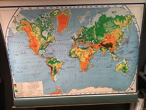 Nystrom World Map.Vintage Aj Nystrom World Landform Physical Political Series Pull