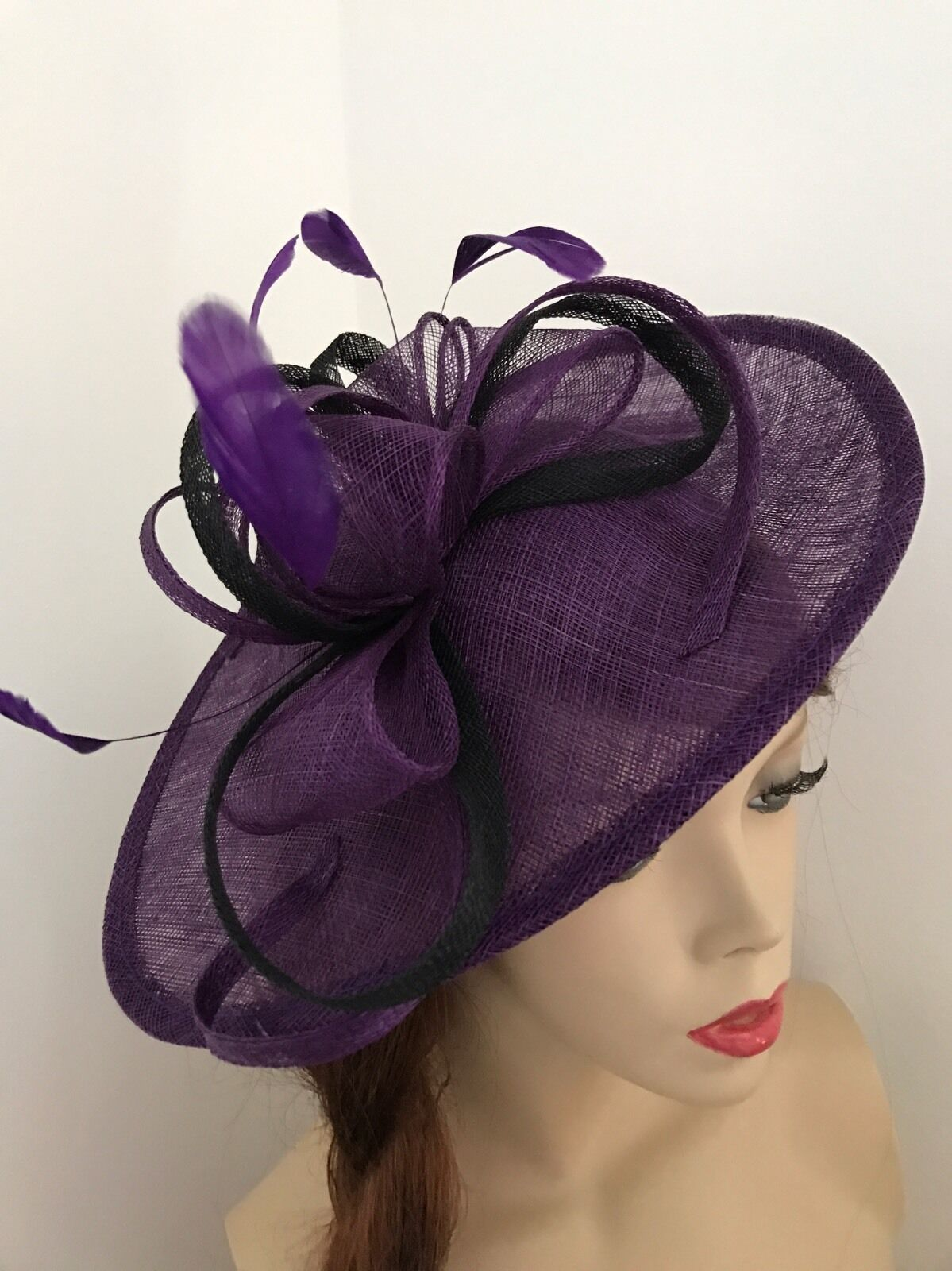 Purple Black Fascinator Saucer Hat Hatinator Races Disc Feathers Wedding Ascot