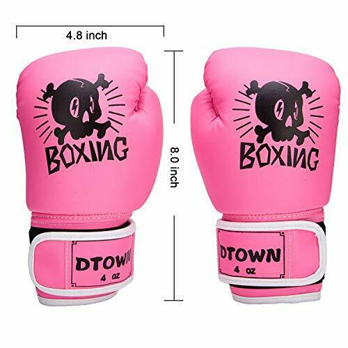 Dtown Girls Boxing Gloves,4oz PU Kids Boxing Gloves for Children Age 3 to 7,Pink