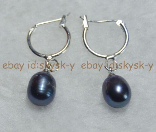 Noir Belle 8-9 mm d/'eau douce riz perles perle crochet Boucles d/'oreilles