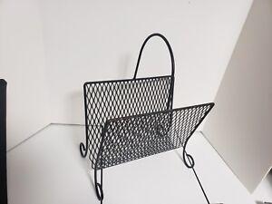 vintage-metal-mesh-magazine-rack-holder-black-mid-century-w-handle
