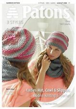 VAT Free KNITTING CROCHET PATTERN ONLY Patons Ladies Hat Cowl Slippers 4080 New