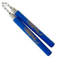 Foam Padded Nunchaku With Chain - Blue