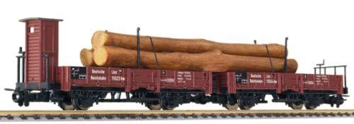 SH  Liliput L240105  Drehschemelwagen-Set mit Holzstämmen  DRG HOe