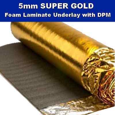 5mm Super Gold Laminate Engineered Wood Flooring Underlay Sound Damp Proof DPM