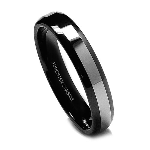 5MM Women's Tungsten Ring Wedding Band Hers Black Ring Top Domed High Polish-New