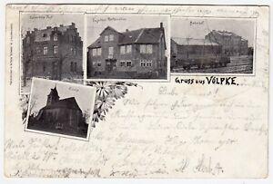 Völpke Post gare église & Engelke's restauration * AK de 1895-Bahnpost-afficher le titre d`origine RWnGYLbF-07154306-940853821