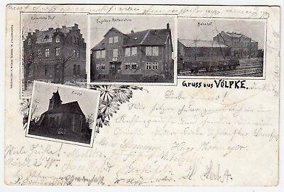 Ak Um 1895 VÖlpke Post Bahnhof Kirche & Engelke's Restauration Bahnpost Wir Haben Lob Von Kunden Gewonnen