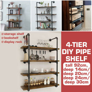 2x4Tier-Retro-Industrial-Iron-Pipe-Ladder-Shelf-Bracket-Wall-Floating