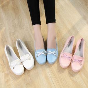 Women-Shallow-Mouth-Peas-Shoes-Non-slip-Work-Flats-Fashion-PU-Leather-Rain-Shoes