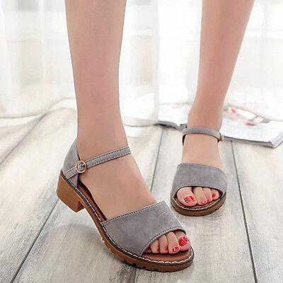 New Women Fashion Sandals Low Cuban Heels Open Toe Ankle Strap Buckle Shoes