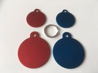 Bulk/Job lot Engraved Cat/Dog/Horse/Pet ID NAME Tags (Pack of 4 tags) Red / Blue