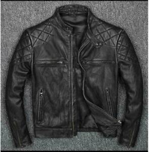Vintage-Distressed-Black-Men-Genuine-Biker-039-s-Cow-Hide-Leather-Jacket