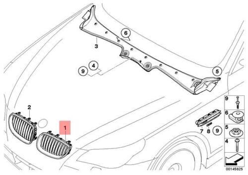 Genuine BMW E60 Front Radiator Kidney Chrome Grille Left OEM 51137065701