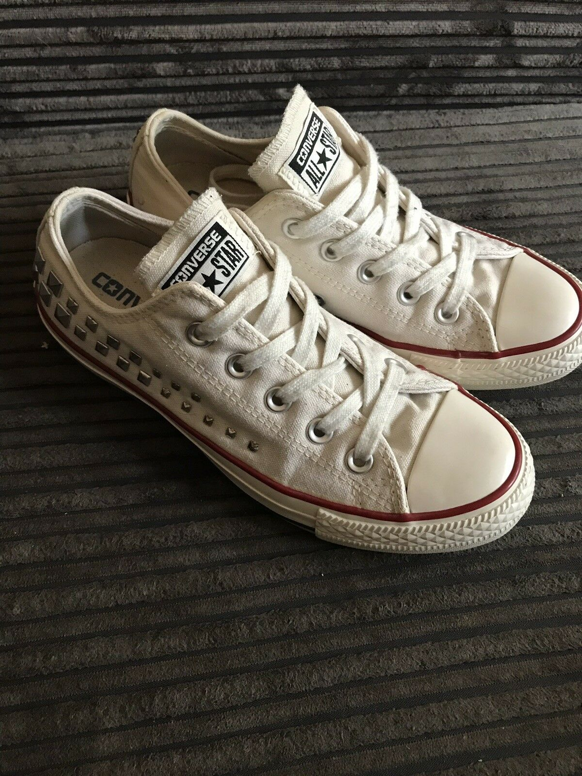 Womens Converse Trainers, Size 4, Studded Design, Vgc And Authentic