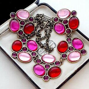 Unique-Vintage-Red-Pink-amp-Purple-Glass-Cabochons-Large-Statement-Necklace