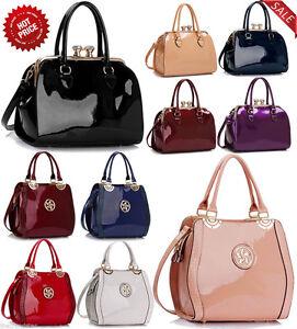 Image is loading Ladies-Handbags-Womens-Bags-Celebrity-Faux-Leather-Patent- 774ebbc9ec
