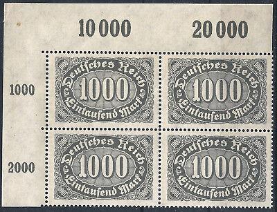 Queroffset Minr 252 Im Viererblock Vom Plattenoberrand Aus Ecke 1 Postfrisch ZuverläSsige Leistung 1919-1923