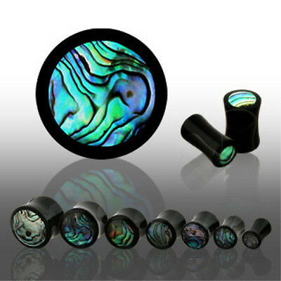 PAIR Horn Plugs w/Abalone Inlay Earlets Gauges Body Jewelry
