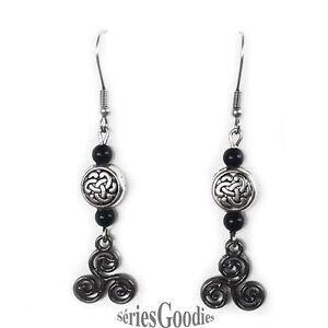 celtique-gothique-Boucles-d-039-oreilles-noeuds-celtiques-Triskel-et-perle-en-Onyx
