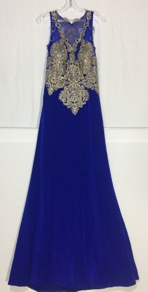 Prom Dress Formal Gown Full Length Blau Gold Sequins Medium