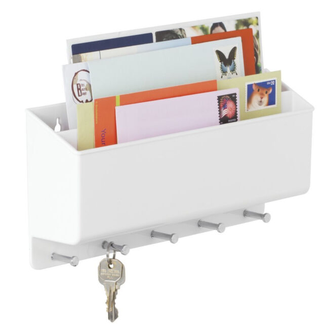 Mail Letter Holder Key Rack Wall Mounted Kitchen Entryway Office Organizer  White