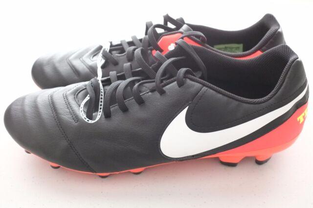 d48fc983eb4 Nike Mens Tiempo Genio II Leather FG Soccer Cleats 12.5 Black Orange  819213-018